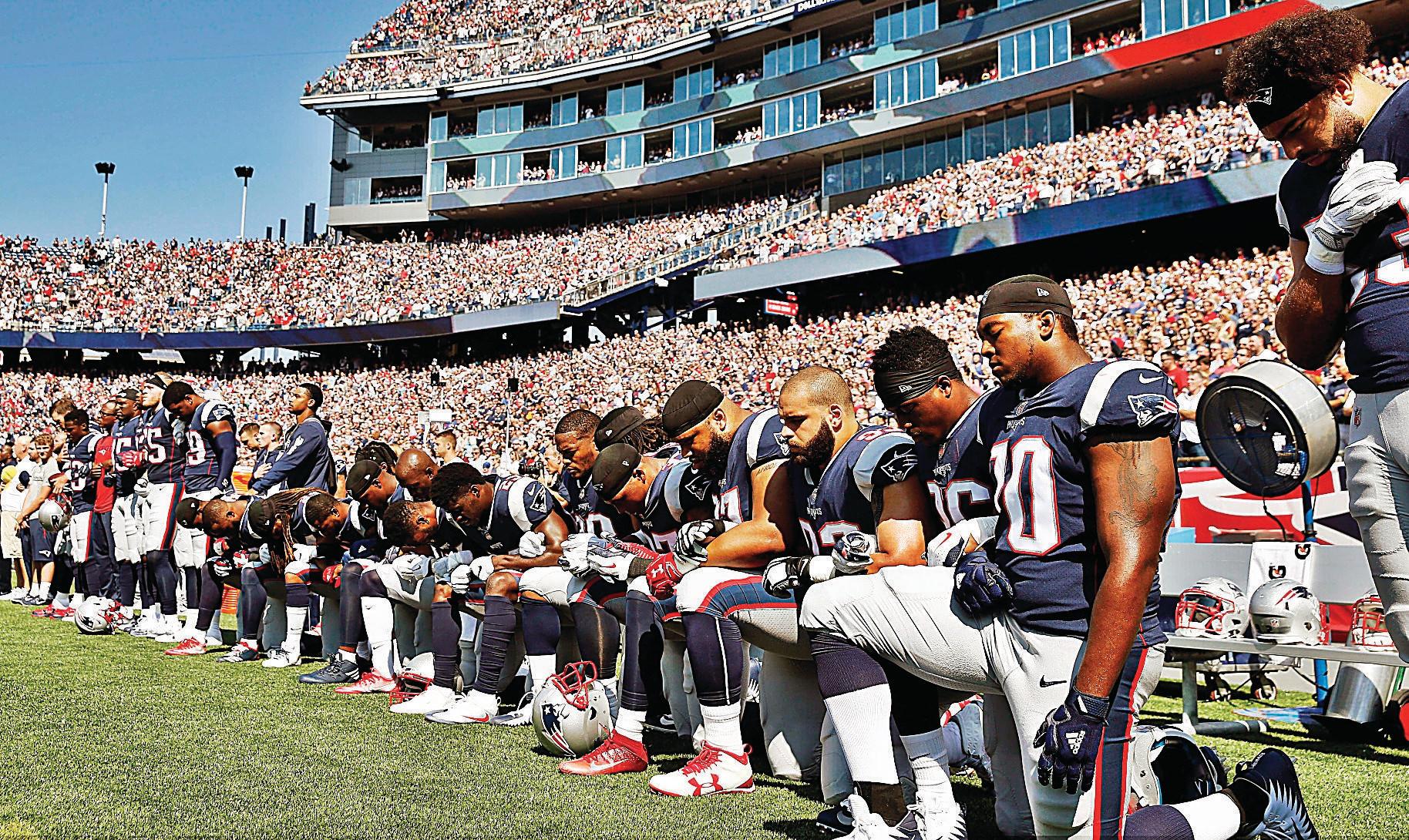 Patriots fizeram parte de um dia de protestos