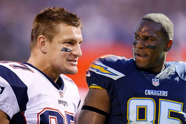 Rob Gronkowski Patriots Antonio Gates Chargers Tight Ends