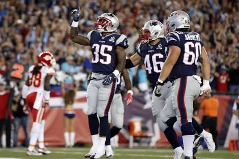 Mike Gillislee jogo corrido New England Patriots