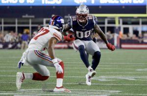 New England Patriots Demaryius Thomas pré-temporada da NFL