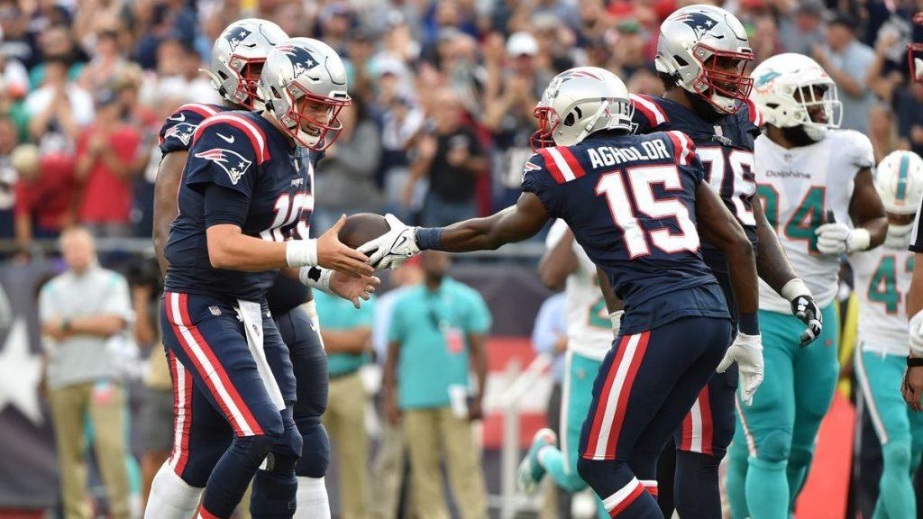 Jones e Agholor Patriots x Dolphins